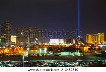LAS VEGAS - April 19: Overview of downtown Las Vegas in the evening on April 19, 2014 in Las Vegas. It's the most populous city in the state of Nevada and the county seat of Clark County. - stock photo