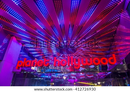 LAS VEGAS - APRIL 13 : Planet Hollywood Resort and Casino in Las Vegas on April 13 2016. Planet Hollywood has over 2,500 rooms available and it located on Las Vegas Boulevard. - stock photo