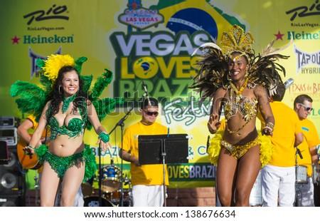 LAS VEGAS - APRIL 13 : Samba dancers participate in the Vegas loves Brazil festival in Las Vegas on April 13 2013 , Vegas loves Brazil is the Nevada's Largest, Most Authentic Brazilian festival - stock photo