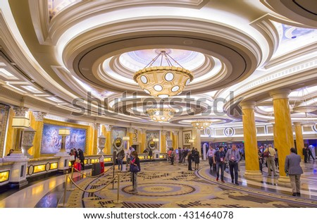 LAS VEGAS - April 13 : The Caesars Palace interior on April 13, 2016 in Las Vegas. Caesars Palace is a luxury hotel and casino located on the Las Vegas Strip. Caesars has 3,348 rooms in five towers  - stock photo