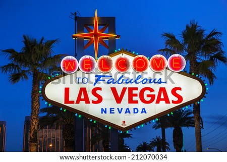 LAS VEGAS - APRIL 19: Welcome to Fabulous Las Vegas sign on April 19, 2014 in Las Vegas, Nevada. It's a Las Vegas landmark funded in May 1959 and erected soon after by Western Neon - stock photo