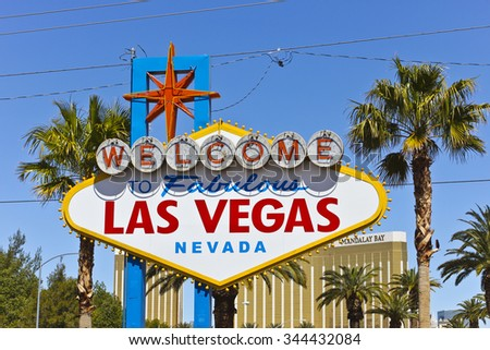 Las Vegas - April 2010: Welcome to Fabulous Las Vegas sign on the Las Vegas Strip II - stock photo