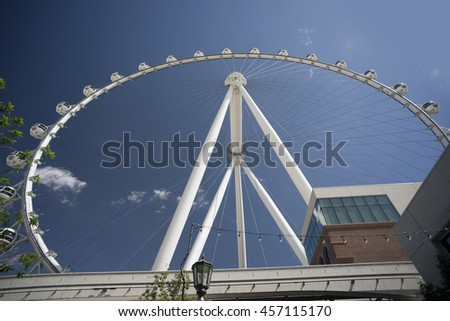 LAS VEGAS ATTRACTIONS - MARCH 22, 2016: The tallest in the world is with 550-feet High Roller. World's talles observation offers 30 minute ride with stunning, 360-degree views of downtown Las Vegas.