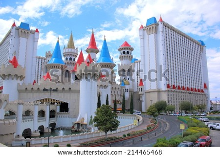 LAS VEGAS - AUGUST 11, 2014: Excalibur Hotel & Casino in Las Vegas, on August 11, 2014. Excalibur, named for the mythical sword of King Arthur, uses the Arthurian theme in several ways.  - stock photo