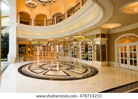 LAS VEGAS - AUGUST 16: The Bellagio Hotel & Casino on August 16, 2016 in Las Vegas. The Spa and Salon inside the hotel showing decorating walkways