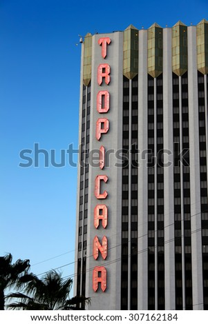LAS VEGAS - AUGUST 19: The Tropicana Las Vegas Hotel and Casino on August 19, 2009 in Las Vegas.  It was opened in 1957 making it one of the oldest hotels on the Las Vegas Strip. - stock photo