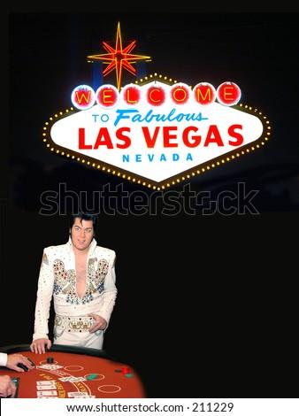 Las Vegas Blackjack game with Elvis Presley impersonator - stock photo
