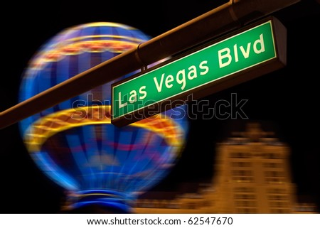Las Vegas Boulevard street sign at night. - stock photo