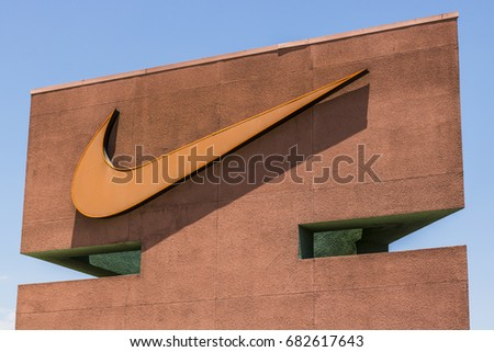 Las Vegas - Circa July 2017: Nike, Inc. Swoosh logo and signage. Nike is one of the world's largest suppliers of athletic shoes and apparel V