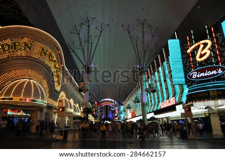 LAS VEGAS - CIRCA MAY 2012: Fremont Street experience in Las Vegas, Nevada. The street is the second most famous street in the Las Vegas. Fremont Street dates back to 1905, when Las Vegas was founded.