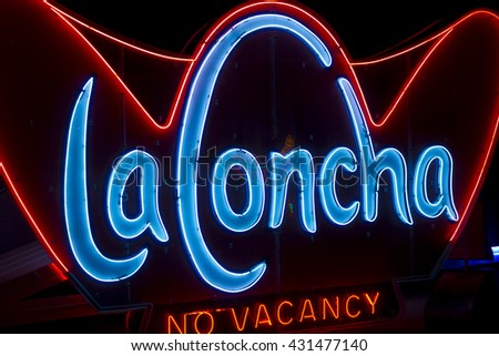 Las Vegas - Circa May 2015: The Neon Sign of the Former La Concha Motel. It was designed by architect Paul Williams I - stock photo