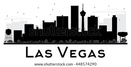 Las Vegas City skyline black and white silhouette. Simple flat concept for tourism presentation, banner, placard or web site. Business travel concept. Cityscape with landmarks