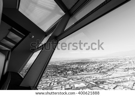 Las Vegas cityscape panorama from the top of the Stratosphere Tower, Las Vegas, USA, black and white image - stock photo