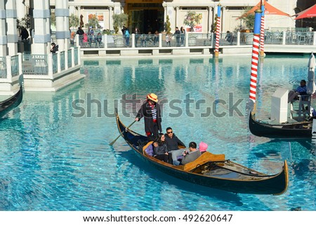 LAS VEGAS - DEC 26: Gondola on the Grand Canal of The Venetian Resort on Las Vegas Strip on Dec 24, 2016 in Las Vegas, Nevada, USA. The Venetian resort complex is the second largest hotel in the world