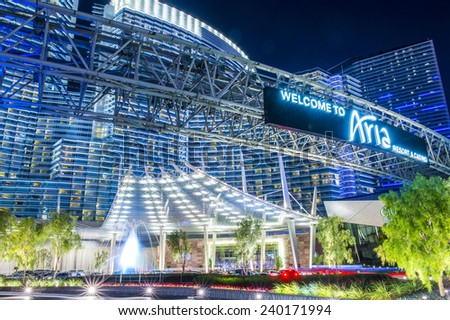 LAS VEGAS - DEC 08 : The Aria Resort in Las Vegas on December 08 2014. The Aria is a luxury resort and casino opened on 2009 and is the world's largest hotel to receive LEED Gold certification - stock photo
