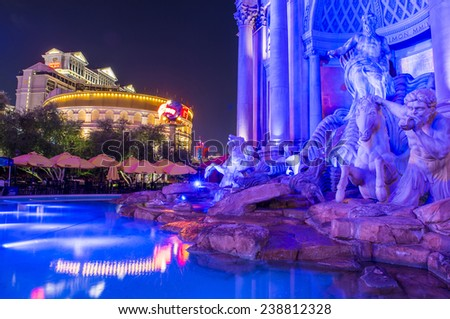 LAS VEGAS - DEC 04 :The Caesars Palace hotel on December 04, 2014 in Las Vegas. Caesars Palace is a luxury hotel and casino located on the Las Vegas Strip. Caesars has 3,348 rooms in five towers  - stock photo