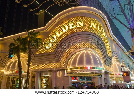 LAS VEGAS - DEC 07 : The Golden Nugget hotel and casino in downtown Las Vegas on December 07, 2012. Las Vegas in 2012 broke the all-time visitor volume record of 39-plus million visitors - stock photo