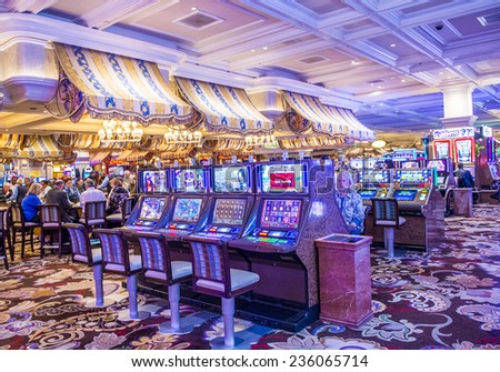 LAS VEGAS - DEC 04 : The interior of Bellagio hotel and casino on December 04 2014 in Las Vegas. Bellagio is a luxury hotel and casino located on the Las Vegas Strip. The Bellagio opened on 1998. - stock photo