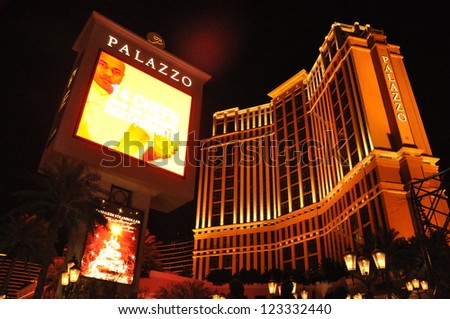 LAS VEGAS - DEC 5: The Palazzo luxury hotel and casino resort located on the Strip in Las Vegas, Nevada. It is the tallest completed building in Nevada, as seen on December 5, 2012. - stock photo