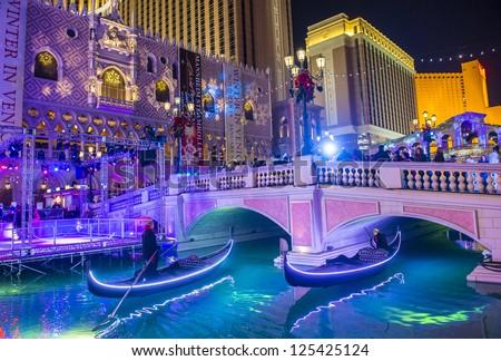 LAS VEGAS - DEC 22 : Venetian Resort Hotel & Casino on December 22, 2012 in Las Vegas. Las Vegas in 2012 broke the all-time visitor volume record of 39-plus million visitors - stock photo