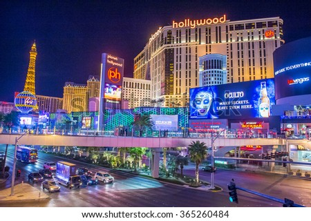 LAS VEGAS - DEC 18 : View of the strip in Las Vegas on December 18 2015. The Las Vegas Strip is an approximately 4.2-mile (6.8 km) stretch of Las Vegas Boulevard in Clark County, Nevada. - stock photo