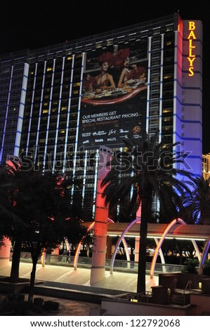 LAS VEGAS - DECEMBER 4: Bally's Las Vegas on December 4, 2012 in Las Vegas. Bally's is located on the Strip and has over 2,800 rooms available for guests. - stock photo