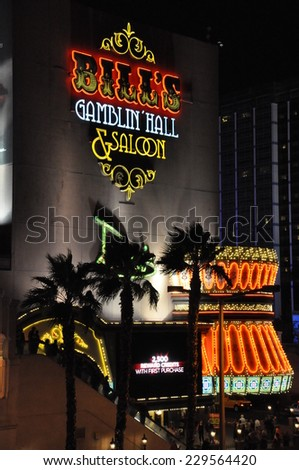 LAS VEGAS - DECEMBER 4: Bill's Gamblin' Hall and Saloon on December 4, 2012 in Las Vegas, Nevada. It was originally known as Barbary Coast Hotel and Casino until the name was changed in 2007. - stock photo