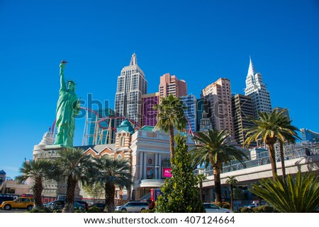 Las Vegas - DECEMBER 13, 2013: Las Vegas Casinos on December 13  - stock photo