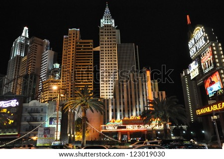 LAS VEGAS - DECEMBER 4: New York New York hotel-casino creating the impressive New York City skyline with skyscrapers and Statue of Liberty on Dec 4, 2012 in Las Vegas, Nevada. It was opened in 1997. - stock photo