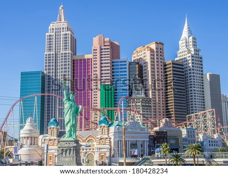 LAS VEGAS - DECEMBER 6, 2013: New York New York hotel,Las Vegas.Replica of the Statue of Liberty is 150 ft (46 m) and the property opened in 1997. - stock photo