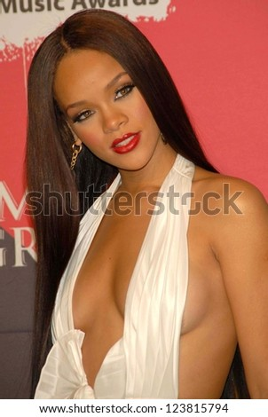 LAS VEGAS - DECEMBER 04: Rihanna in the press room at the 2006 Billboard Music Awards, MGM Grand Hotel December 04, 2006 in Las Vegas, NV - stock photo