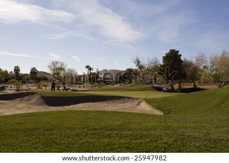 Las Vegas Desert Golf Course Hazard - stock photo