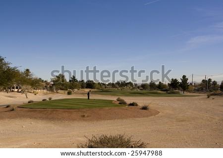 Las Vegas Desert Golf Course Tee Box - stock photo