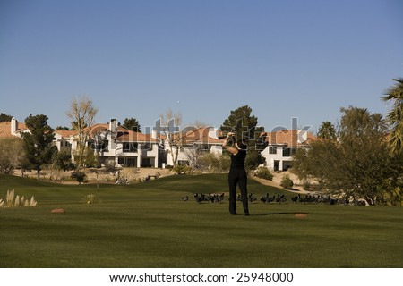 Las Vegas Desert Golf Course Woman on Tee Box - stock photo