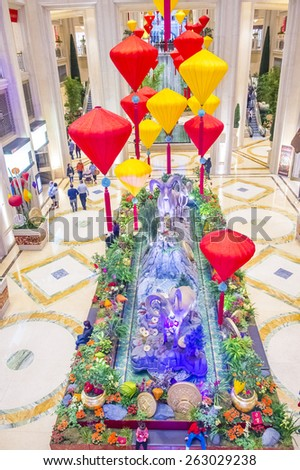 LAS VEGAS - FEB 21 : Chinese new year decorations at the Venetian hotel & Casino in Las Vegas on February 21, 2015. With more than 4000 suites it's one of the most famous hotels in the world. - stock photo