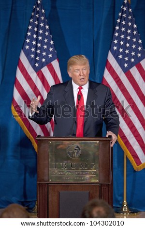 LAS VEGAS - FEB 2: Donald Trump gestures as he endorses Mitt Romney for president at his hotel on February 2, 2012 in Las Vegas, Nevada. - stock photo
