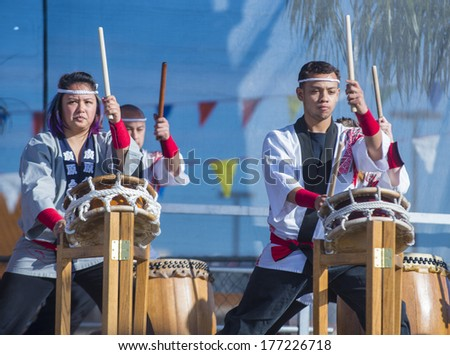 LAS VEGAS - FEB 09 : Japanese Taiko drummers perform at the Chinese New Year celebrations held in Las Vegas , Nevada on February 09 2014