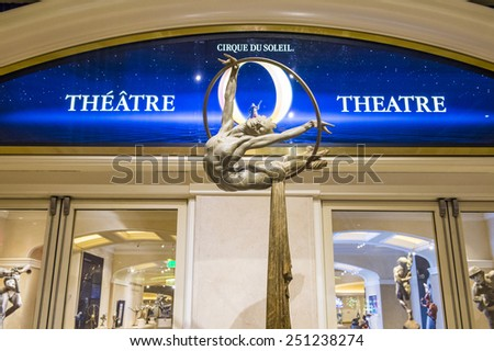 LAS VEGAS - FEB 04 : O theatre at the Bellagio hotel in Las Vegas on February 04 2015. O is a Cirque du Soleil stage production written and directed by Franco Dragone. - stock photo