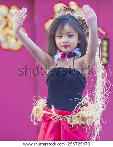 LAS VEGAS - FEB 21 : Tahitian folk dancer perform at the Chinese New Year celebrations held in Las Vegas , Nevada on February 21 2015