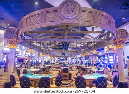 LAS VEGAS - FEB 18 : The casino of Ceasars Palace on February 18, 2015 in Las Vegas. Caesars Palace is a luxury hotel and casino located on the Las Vegas Strip. Caesars has 3,348 rooms in five towers  - stock photo
