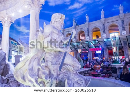 LAS VEGAS - FEB 18 : The Ceasars Palace interior on February 18, 2015 in Las Vegas. Caesars Palace is a luxury hotel and casino located on the Las Vegas Strip. Caesars has 3,348 rooms in five towers  - stock photo