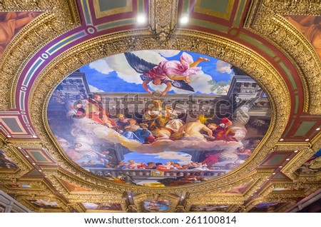 LAS VEGAS - FEB 04: The interior of the Venetian hotel & Casino in Las Vegas on February 04 , 2015. With more than 4000 suites it's one of the most famous hotels in the world. - stock photo