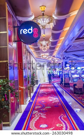 LAS VEGAS - FEB 21 : The interior of Wynn Hotel and casino on February 21 2015 in Las Vegas. The hotel has 2,716 rooms and opened in 2005. - stock photo