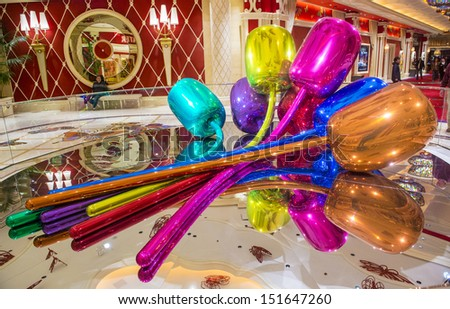 LAS VEGAS -FEB 25 : The Jeff Koons Tulips Sculpture display at the Wynn Hotel in Las Vegas on February 25 2013. The sculpture purchased by Steve Wynn in 2012 for $33.6 million dollars - stock photo