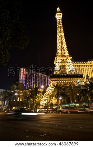 LAS VEGAS - FEBRUARY 2: Night Panorama of Las Vegas Boulevard, The Strip. Hotels and casinos including The Paris and Ballys. Gambling and night life. February 2, 2010, Las Vegas, Nevada, USA - stock photo