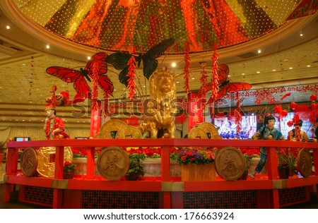 LAS VEGAS - JAN 30: Beautiful decoration celebrating the Chinese New Year in MGM Grand Hotel on January 30, 2014 in Las Vegas, Nevada.