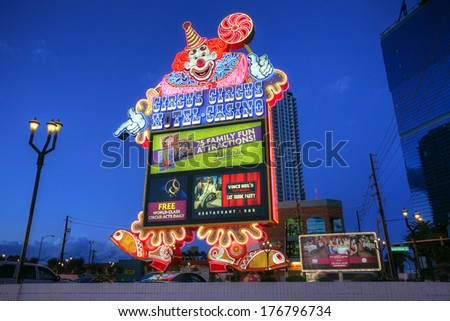 LAS VEGAS - JAN 31: Hotel Casino Circus Circus on January 31, 2014 in Las Vegas. Circus Circus features circus acts and carnival type games daily on the Midway. - stock photo