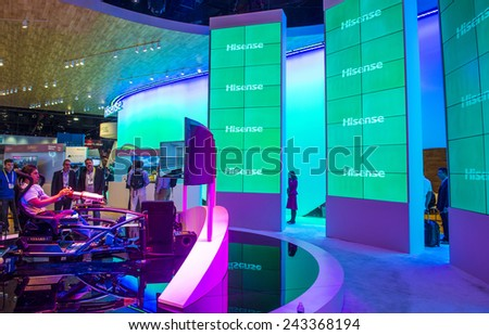 LAS VEGAS - JAN 09 : The Hisense booth at the CES show held in Las Vegas on January 09 2015 , CES is the world's leading consumer-electronics show.