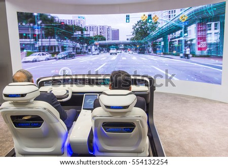 LAS VEGAS - JAN 08 : The Hyundai Mobis Concept car simulator at the CES Show in Las Vegas, Navada, on January 08, 2017. CES is the world's leading consumer-electronics show.