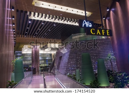 LAS VEGAS - JAN 13 : The interior of Aria Resort and Casino in Las Vegas on January 13 2014. The Aria was opened on 2009 and is the world's largest hotel to receive LEED Gold certification - stock photo
